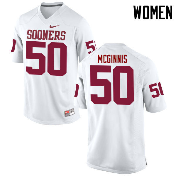 Women Oklahoma Sooners #50 Arthur McGinnis College Football Jerseys Game-White